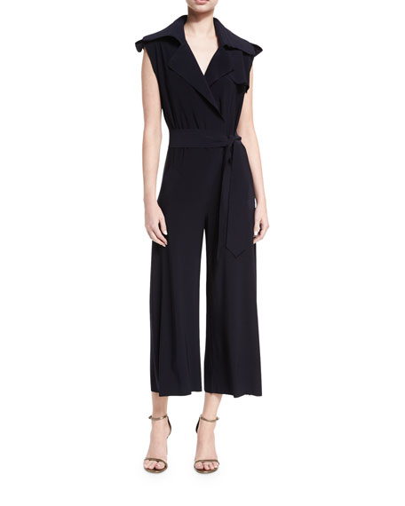 Sleeveless Double-Breasted Trench Cropped Jumpsuit