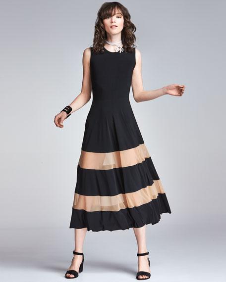 Spliced Flared Cocktail Midi Dress w/ Sheer Inserts