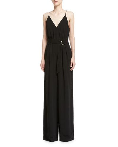 V-Neck Crepe Sleeveless Slip Jumpsuit, Black