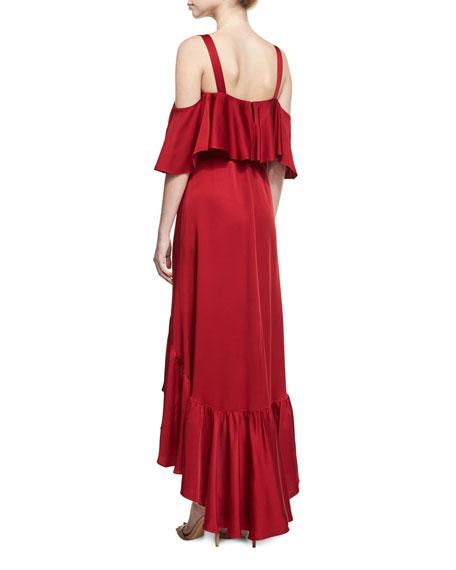 Cold-Shoulder Flounce Gown, Pimento