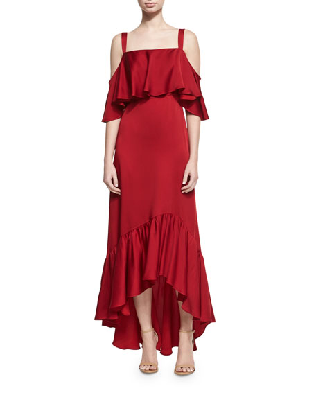 Jill Jill Stuart Cold-Shoulder Flounce Gown, Pimento
