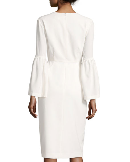 Crepe Bell-Sleeve Cocktail Dress, White