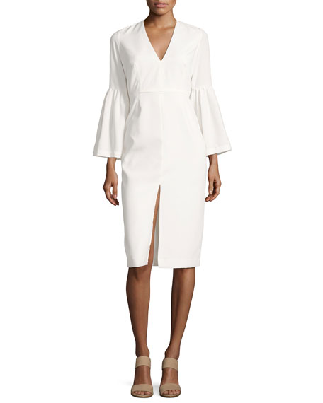 Jill Jill Stuart Crepe Bell-Sleeve Cocktail Dress, White