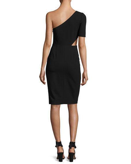 One-Shoulder Cutout Cocktail Dress, Black