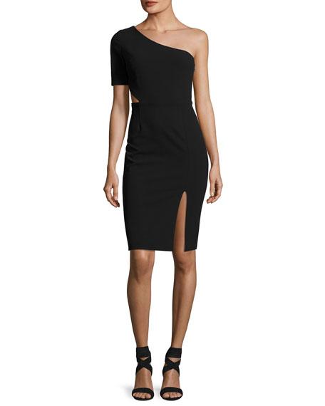 One-Shoulder Cutout Cocktail Dress, Black