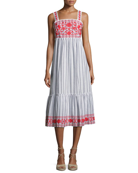 stripe embroidered sleeveless midi dress
