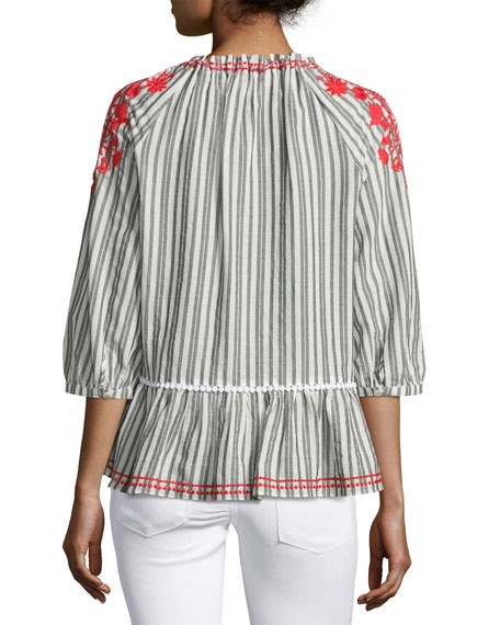striped embroidered peasant top