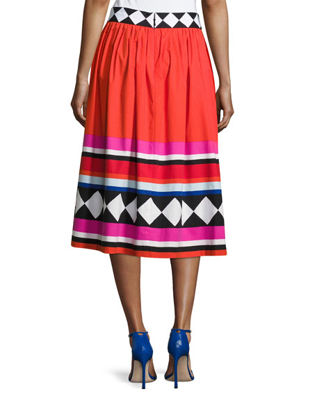 geo border-print poplin midi skirt