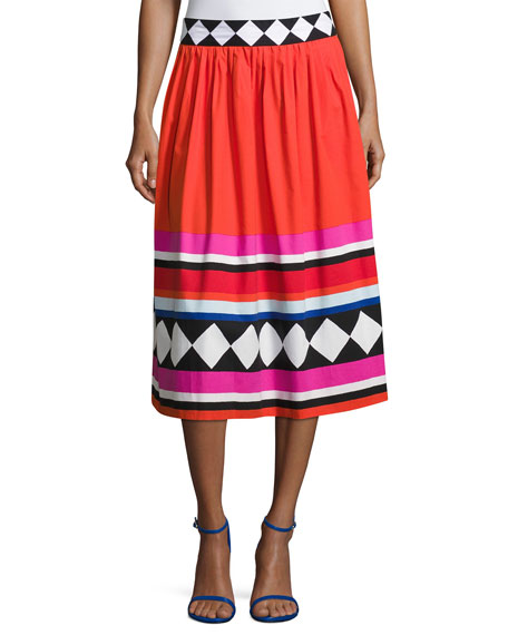 kate spade new york geo border-print poplin midi