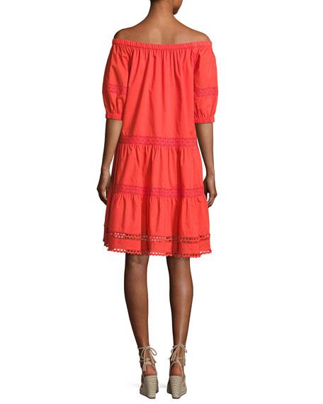 cotton poplin off-the-shoulder dress