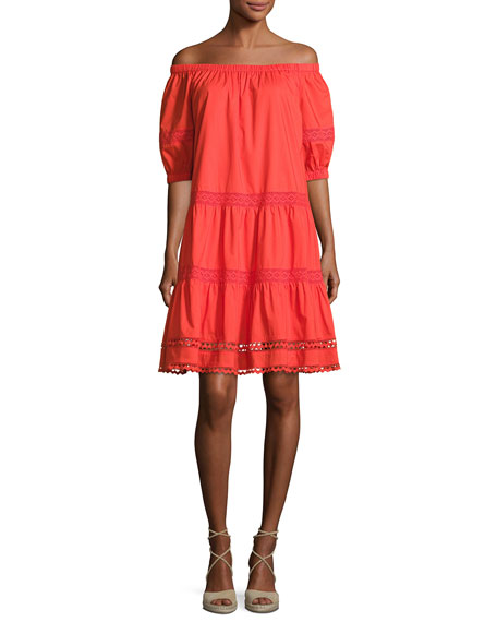 kate spade new york cotton poplin off-the-shoulder dress