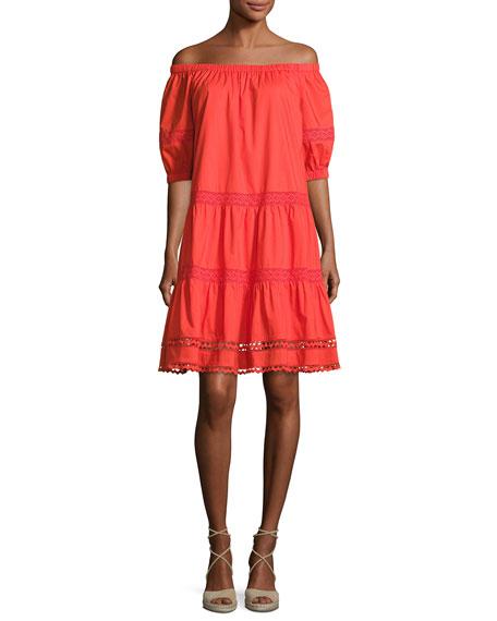 kate spade new york cotton poplin off-the-shoulder dress