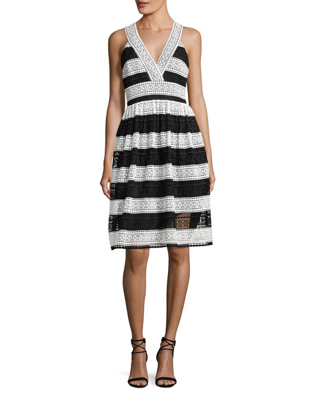 kate spade new york colorblock lace v-neck dress