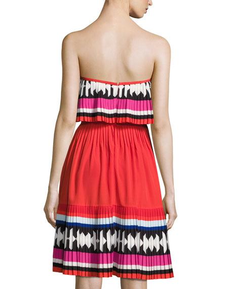 geo border pleated strapless mini dress