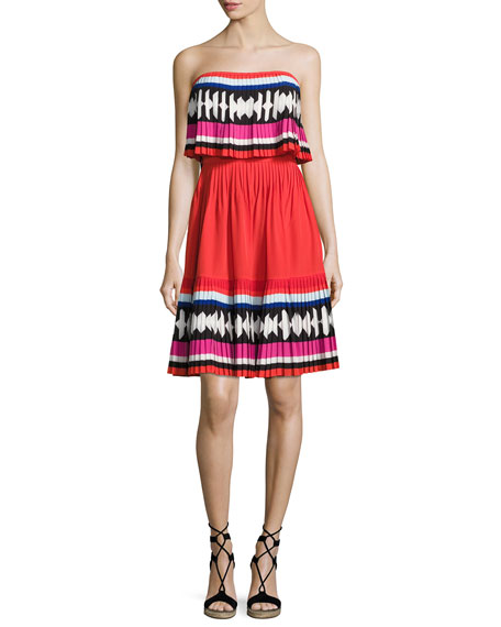geo border pleated strapless mini dress