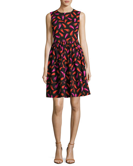 kate spade new york hot pepper fit-and-flare sleeveless