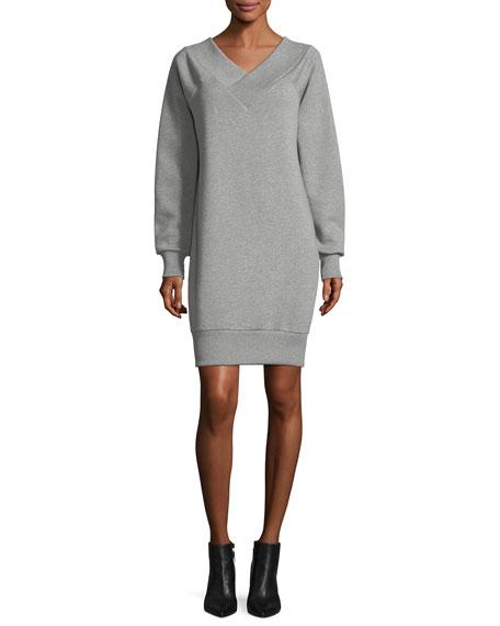 Burberry Taro Fleece V-Neck Dress