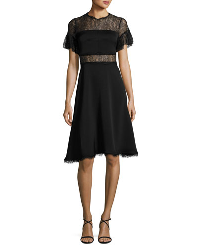 Mirada Short-Sleeve Lace Crepe Cocktail Dress