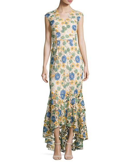 Norwalk Cap-Sleeve Floral-Lace Gown