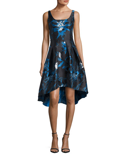 Moreno Sleeveless Floral High-Low Cocktail Dress