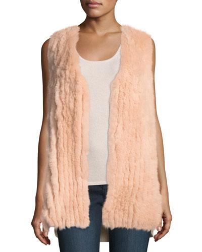 Fox Fur Vest w/ Sequin-Trim Cashmere Back
