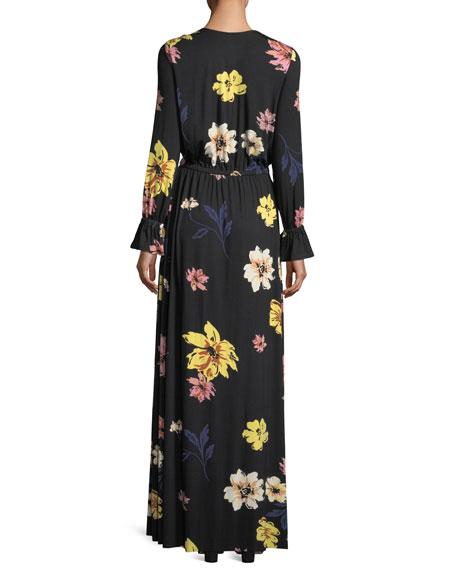 Jamie Long-Sleeve Floral-Print Maxi Dress