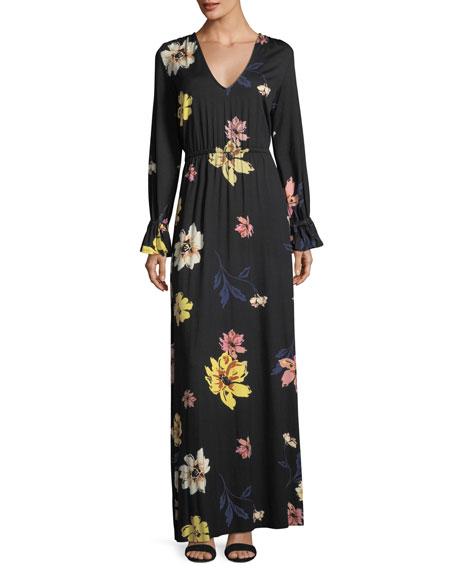 Jamie Long-Sleeve Floral-Print Maxi Dress, Plus Size