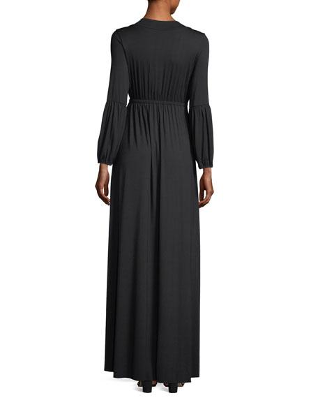Celestia Lantern-Sleeve Surplice-Neck Maxi Dress