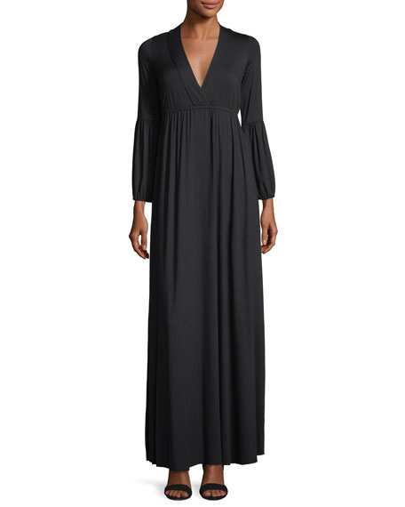Celestia Lantern-Sleeve Surplice-Neck Maxi Dress