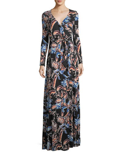 Harlow Long-Sleeve Floral-Print Jersey Wrap Dress, Plus Size
