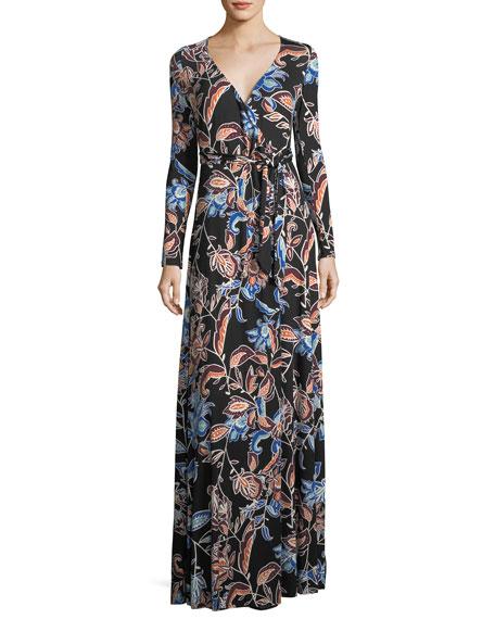 Rachel Pally Harlow Long-Sleeve Floral-Print Jersey Wrap Dress,