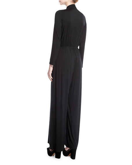 Miro Long-Sleeve Jersey Jumpsuit, Plus Size