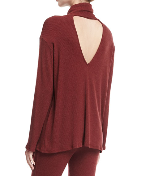Marla Ribbed Cutout Turtleneck Sweater