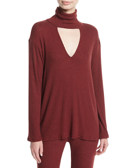 Rachel Pally Marla Ribbed Cutout Turtleneck Sweater