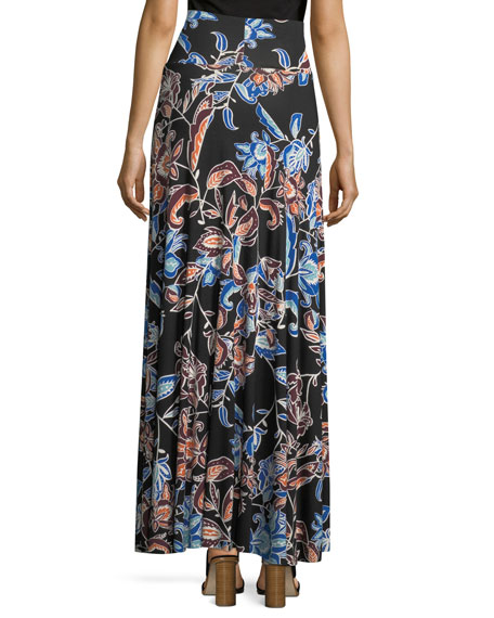 Long Full Folk Floral Printed Jersey Skirt