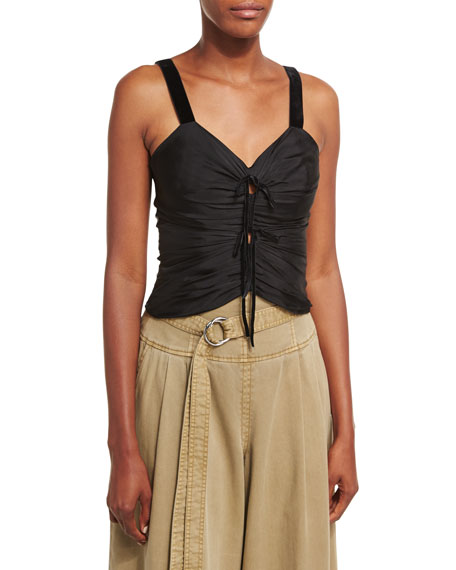 Bianca Sleeveless Ruched Top W/ Velvet Trim