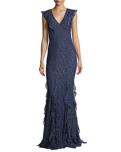 Josephine V-Neck Ruffled Lace Evening Gown