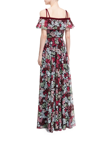 Ellie Off-the-Shoulder Floral-Embroidered Gown