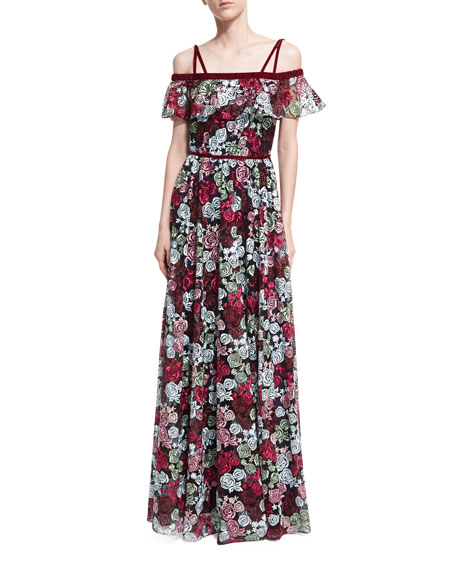 ZAC Zac Posen Ellie Off-the-Shoulder Floral-Embroidered Gown