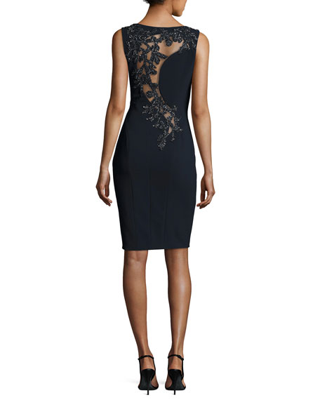 Sleeveless Embellished-Back Sheath Dress, Midnight
