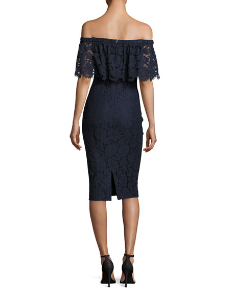 Off-the-Shoulder Lace Cocktail Dress, Midnight