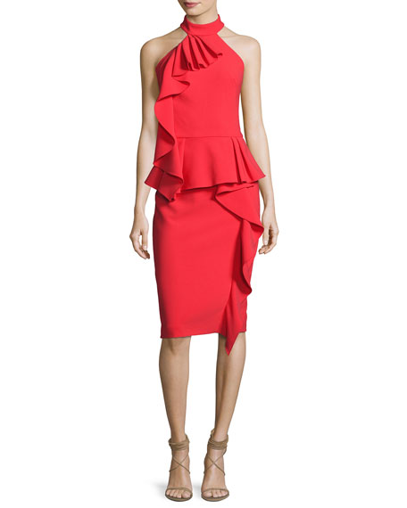 Sleeveless Cutaway Ruffled Halter Dress, Persimmon