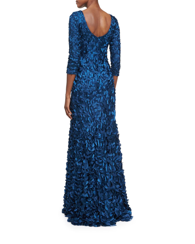 Theia Three-Quarter Sleeve Boat-Neck Petal Gown, Mallard Blue ...