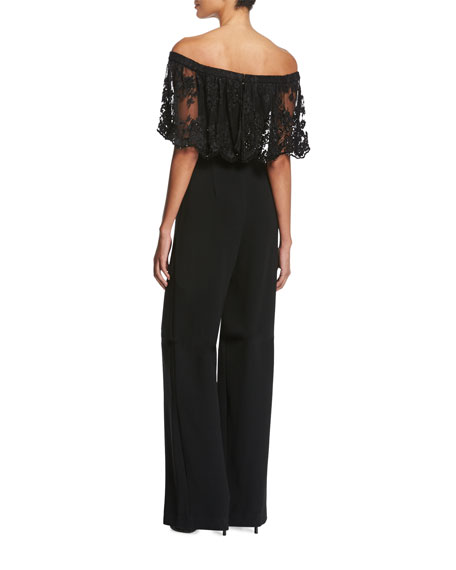 Off-the-Shoulder Beaded Lace Jumpsuit