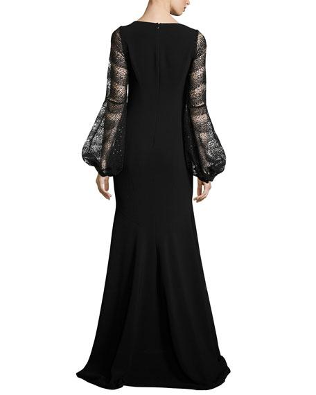 Long-Sleeve Crepe Mermaid Gown, Black
