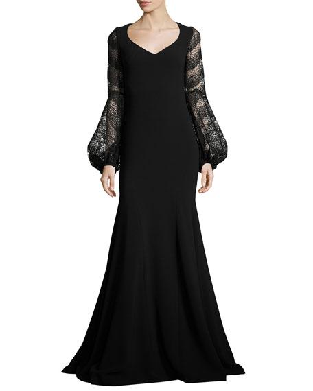 Theia Long Sleeve Crepe Mermaid Gown