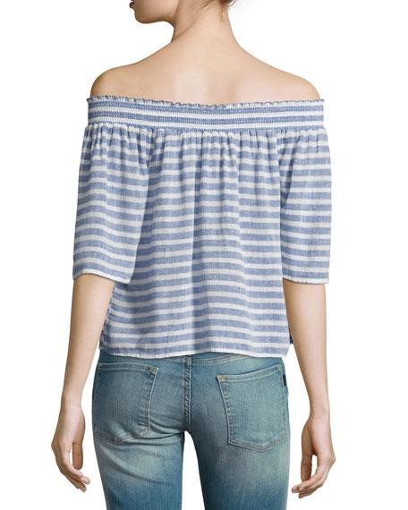 Isabelle Off-the-Shoulder Striped Linen Top