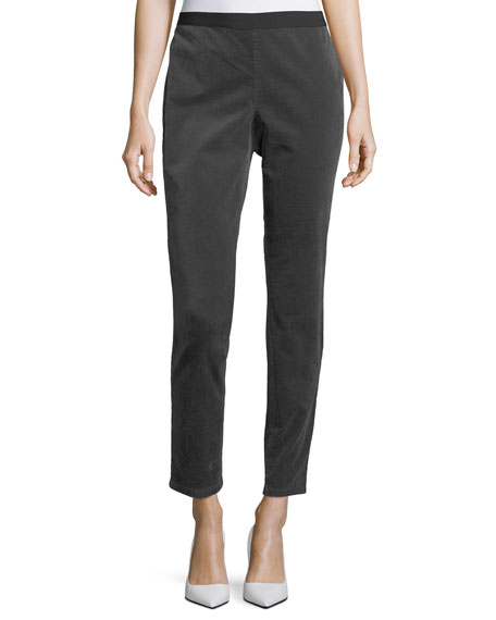 Eileen Fisher Slim Stretch-Corduroy Leggings, Petite