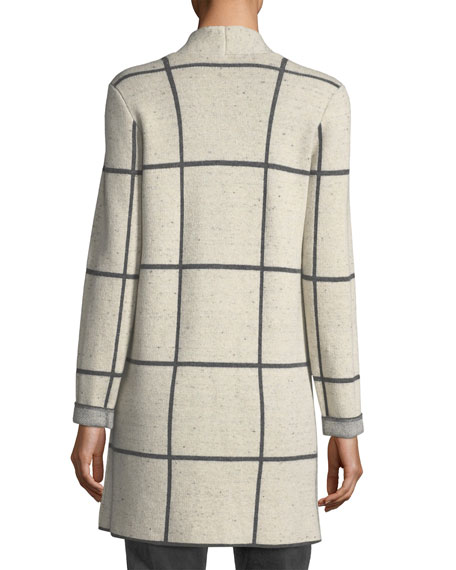 Peppered Windowpane Wool-Blend Simple Long Jacket