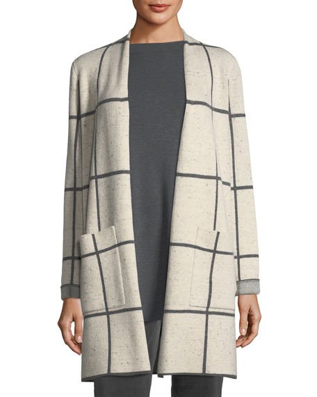 Peppered Windowpane Wool-Blend Simple Long Jacket